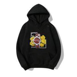 Nihaostyle Clothing Wholesale Hooded Watch Flower Print Long-sleeved Fleece Sweatshirt NSYAY66279
