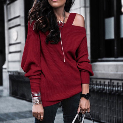 Wholesale Women's Clothing Nihaostyles Long-sleeved Solid Color Off-the-shoulder Pit Knit Top NSJC66144