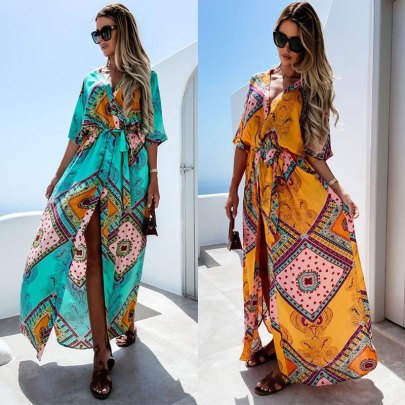 Wholesale Women's Clothing Nihaostyles Lace-up Waist Printed Dress NSJC66119