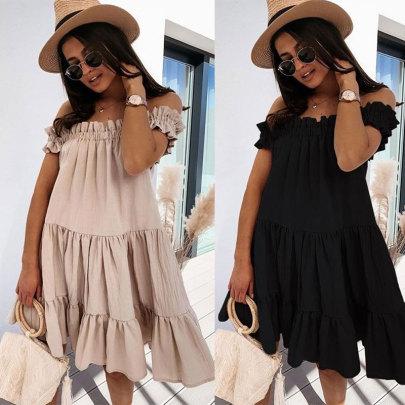 Wholesale Women's Clothing Nihaostyles Loose Neck Fashion Loose Dress NSJC66118