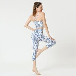 Printed Yoga Cropped Sports Set Nihaostyles Clothing Wholesale NSXPF70757