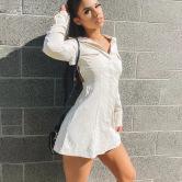 Vestido De Verano Rebeca De Un Solo Pecho Falda Corta De Manga Larga Mujer NSFD70775