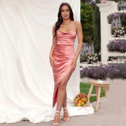 Summer Female Sling Halter High Slit Dress Nihaostyles Clothing Wholesale NSFD70788