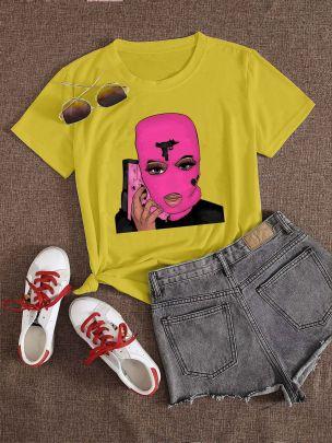 Large Size Pink Mask Pistol-shaped Printed Short-sleeved T-shirt Nihaostyles Clothing Wholesale NSXPF70844