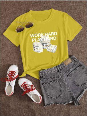 Large Size Letter Money Printing Short-sleeved T-shirt Nihaostyles Clothing Wholesale NSXPF70857