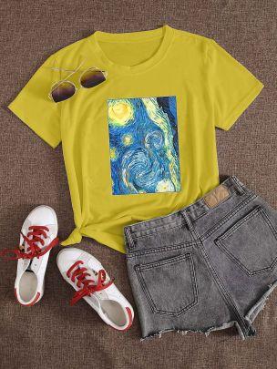 Large Size Color Painting Printing Short-sleeved T-shirt Nihaostyles Clothing Wholesale NSXPF70863