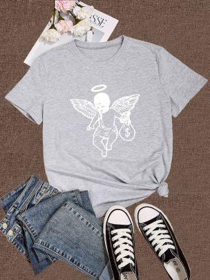 Large Size White Angel Printing Short-sleeved T-shirt Nihaostyles Clothing Wholesale NSXPF70869