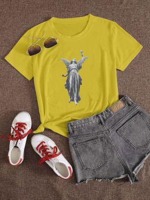 Print Short-sleeved T-shirt Nihaostyles Clothing Wholesale NSXPF70876