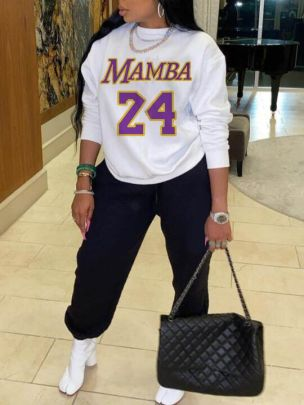 Printed Letters And Numbers 24MAMBA Round Neck Long Sleeve Ladies Sweatershirt Nihaostyles Clothing Wholesale NSZZF71007