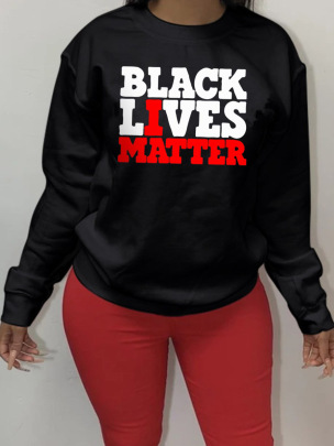 Printed Letters BLACK LIVE MATTER Round Neck Long Sleeve Ladies Sweatershirt Nihaostyles Clothing Wholesale NSZZF71013