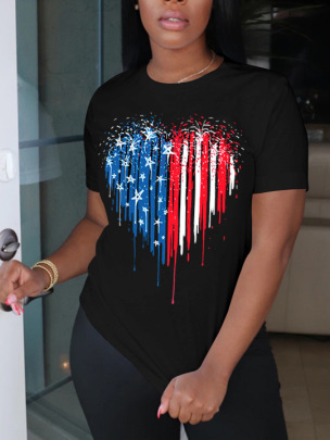 Printing Letters Love Flag Elements Round Neck Short Sleeve Ladies T-shirt Nihaostyles Clothing Wholesale NSZZF71023