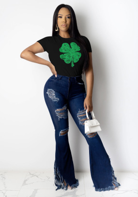 Printed Clover Round Neck Short Sleeve Ladies T-shirt Nihaostyles Clothing Wholesale NSZZF71028