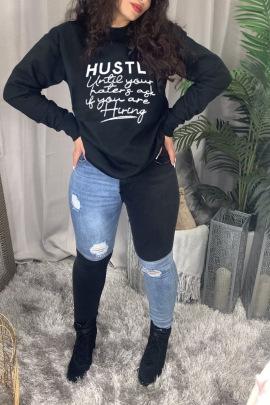 Hustlk Black Printing Letters Round Neck Long-sleeved Ladies Sweatershirt Nihaostyles Clothing Wholesale NSZZF71031