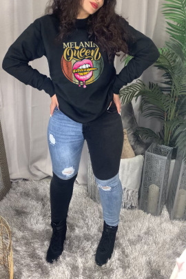Black Lips Printed Letters Round Neck Long-sleeved Ladies Sweatershirt Nihaostyles Clothing Wholesale NSZZF71034