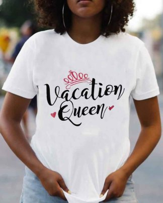 Vacation Queen Printing Pattern Letter Round Neck Short Sleeve Ladies T-shirt Nihaostyles Clothing Wholesale NSZZF71040
