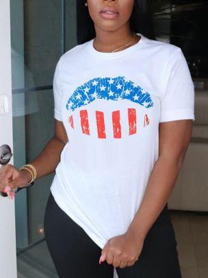 Print Pattern Lips Round Neck Short Sleeve Ladies T-shirt Nihaostyles Clothing Wholesale NSZZF71054