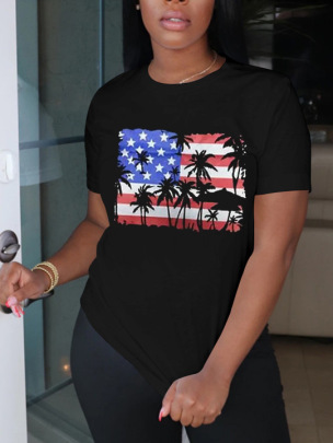 Printing Letter Round Neck Short Sleeve Ladies T-shirt Nihaostyles Clothing Wholesale NSZZF71056