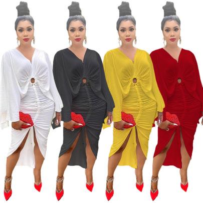 Zipper Pleated Sleeve Dress Nihaostyles Clothing Wholesale NSJCF71064