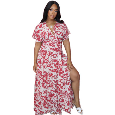 Fashion Sexy Zipper Printed Dress Nihaostyles Clothing Wholesale NSJCF71079