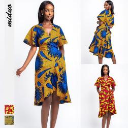 fashion new printing women's V-neck strap skirt nihaostyle clothing wholesale NSMDF71104