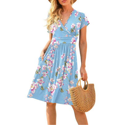 Nihaostyle Clothing Wholesale New Style Short-sleeved Printed Loose Mid-length Dress NSOUY66160
