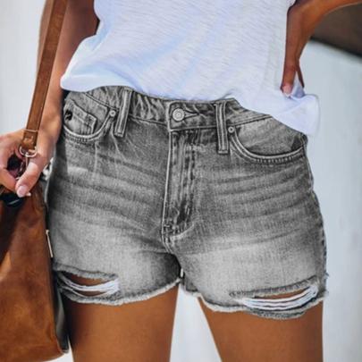 Wholesale Women's Clothing Nihaostyles Ripped Fringed Denim Shorts NSXMI66135