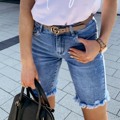 Wholesale Women's Clothing Nihaostyles Slim Solid Color All-match Denim Shorts NSXMI66130