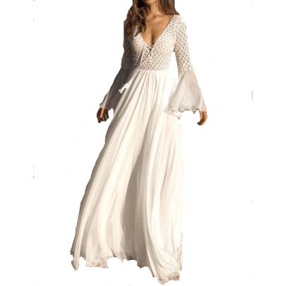 Wholesale Women's Clothing Nihaostyles Lace Stitching Deep V-neck Flared Sleeve Waist Long Dress NSXIA66148