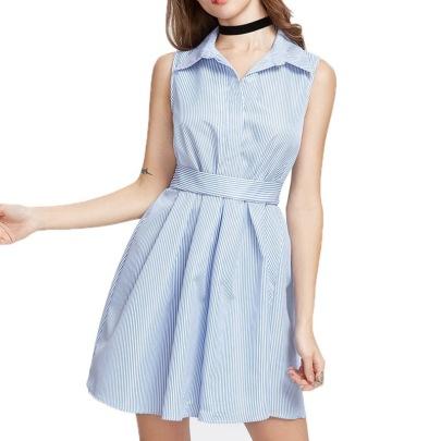 Wholesale Clothing Nihaostyles Lapel Waist Sleeveless Striped Shirt Dress NSGMY65817