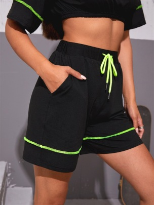 Wholesale Clothing Nihaostyles Stitching Stitching High Waist Sports Shorts NSGMY65819
