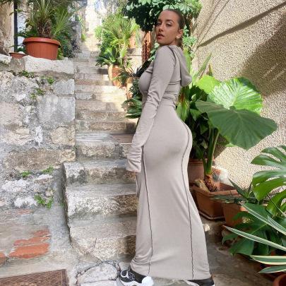 Wholesale Women's Clothing Nihaostyles Side Splicing Hooded Slim Long Dress NSDLS65872