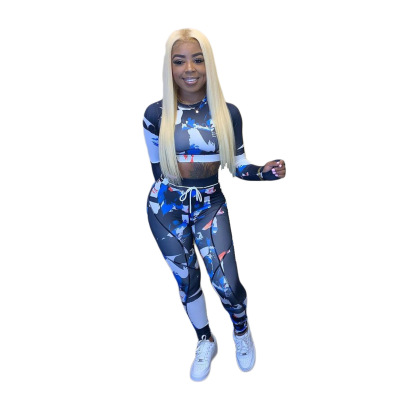 Wholesale Clothing Nihaostyles Printed Slim Long-sleeved Sports Fitness Set NSCN65887
