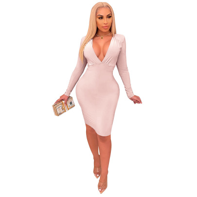 Nihaostyle Clothing Wholesale New Pleated Spring And Autumn Long-sleeved Solid Color One-piece Dress NSCQ65916