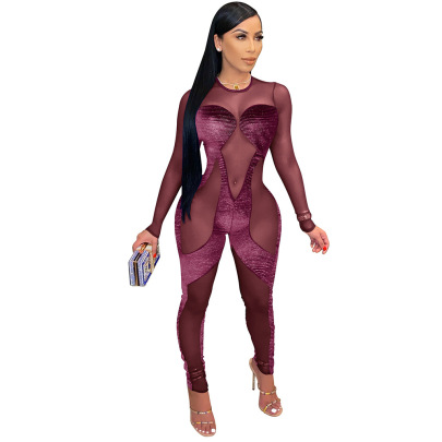 Nihaostyle Clothing Wholesale Women's Sexy Hollow Mesh Jumpsuit NSCQ65925