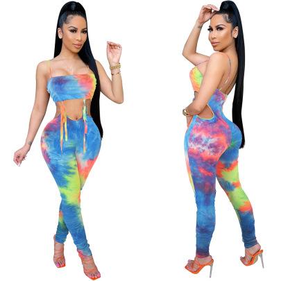 Nihaostyle Clothing Wholesale Summer Tie-dye Double-layer Shoulder Jumpsuit NSCQ65948
