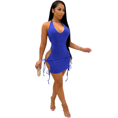 Nihaostyle Clothing Wholesale Summer Sexy Solid Color V-neck Halter Dress NSCQ65952