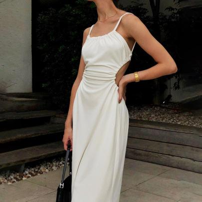 Wholesale Clothing Nihaostyles Flat-neck Slim-fit Suspender Mid-length Halter Dress NSYLF65974