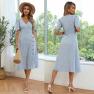 Wholesale Clothing Nihaostyles Puff Sleeve Floral V-neck Lace Split Dress NSYIC66048