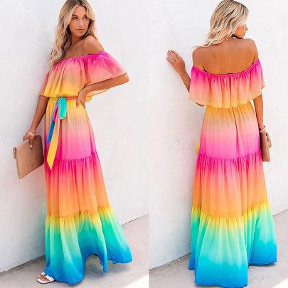 Wholesale Women's Clothing Nihaostyles Shoulder Strap Gradient Dress   NSJC66114