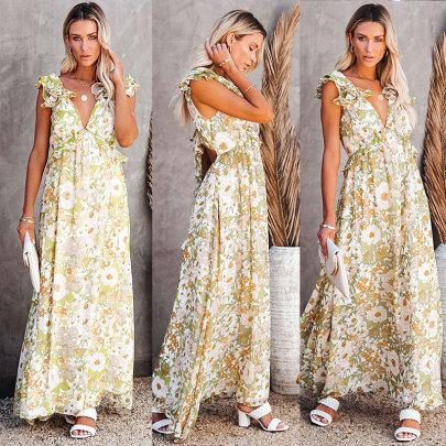 Wholesale Women's Clothing Nihaostyles Sleeveless Lotus Leaf Shoulder Strap Fashion Style Open Back Lace Printed Long Dress NSJC66113