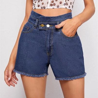 Nihaostyle Clothing Wholesale New Loose Dark Ladies Denim Shorts NSOUY66242
