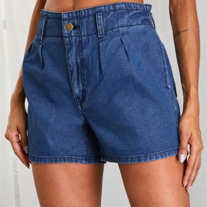 Nihaostyle Clothing Wholesale New Ladies Elastic Waist Denim Shorts NSOUY66243