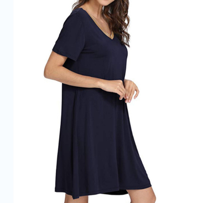 Wholesale Women's Clothing Nihaostyles V-neck Solid Color Casual Mid-length Dress NSXIA66234