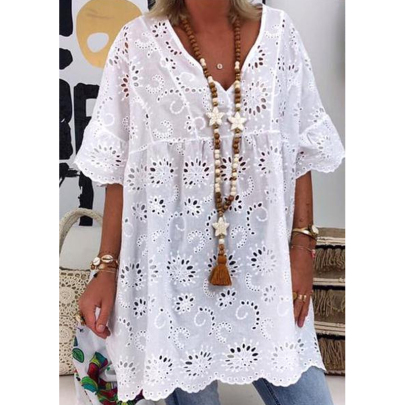 Wholesale Women's Clothing Nihaostyles V-neck Hollow Embroidered Blouse Short Sleeve Dress NSXIA66263