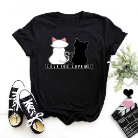Nihaostyle Clothing Wholesale Cartoon Cat High Definition Print Round Neck Slim T-shirt NSYAY66497
