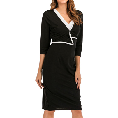 Wholesale Women's Clothing Nihaostyles Black And White Contrast Color V-neck Five-point Sleeves Solid Color Button-decorated Dress  NSXIA66285