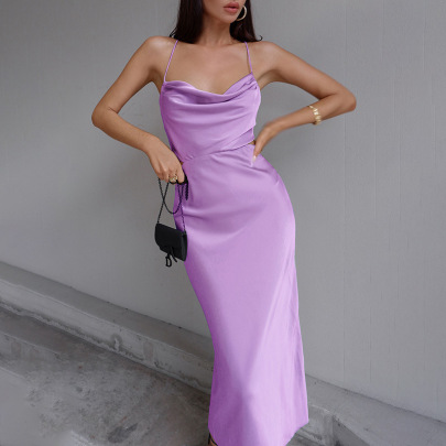Nihaostyle Clothing Wholesale Summer New Style Sexy Pile Collar Halter Strap Dress NSFLY66082