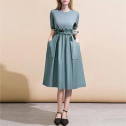Wholesale Women's Clothing Nihaostyles Stitching Color Stitching Waist Ruffle Loose Long Sleeve Dress NSJR66105