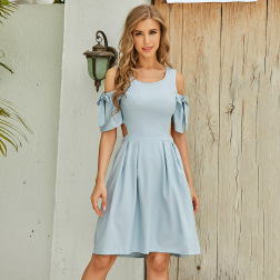 Wholesale Women's Clothing Nihaostyles Strapless Bow Short-sleeved Dress  NSJR66110