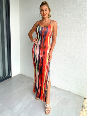 Wholesale Clothing Vendors Nihaostyles Painted And Printed Halter Strap Slit Slim Dress NSYI66327